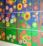 Corproate creative team building mural on office wall