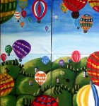 Hot air balloons mural painted by team